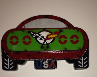 Red Race Car Corvette / Vette Sign Wall Decor