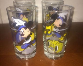 4 Vintage Mickey Mouse Drinking Glasses