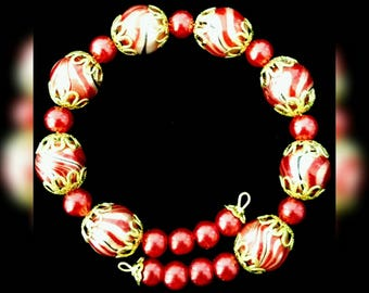 Bracelet red marble Cap beads