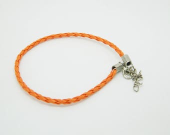 Orange 21cm x 1 (l589) braided leather bracelet