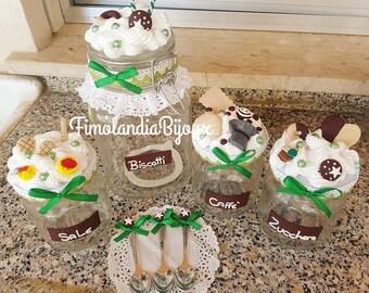 Kitchen set, salt, sugar, coffee, biscuit, handmade, original gift, chocolate, nameplate