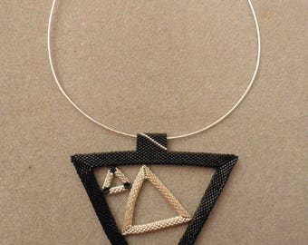 Choker with black and silver peyote pendant geometric