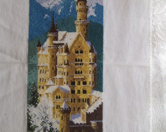 Hand-embroidered tapestry, Wall decoration, Home winter decor, Gobelin, Embroidery with cotton thread,Neuschwanstein Castle gobelin