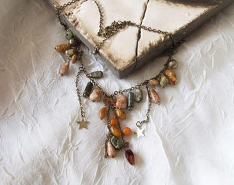 Multi Beaded Vintage Style Necklace, Amber & Green Costume Jewellery, Gifts for Her