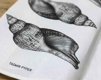 Seashell Tea Towel, designed & made in the UK