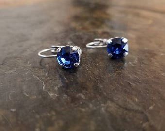 Crystal earrings.  Sapphire in antique silver.