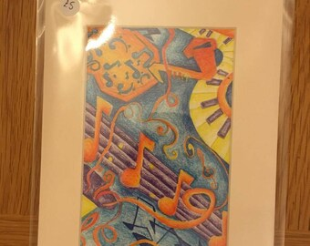 Abstract musical instrument colouring pencil piece
