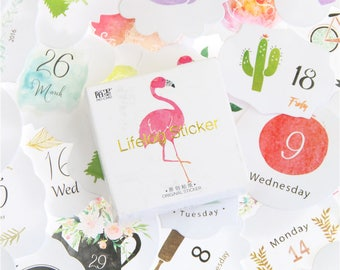 Beautiful planner stickers - pack of 40\45 \\ flamingo \ cacti and plants \ cats \ anime