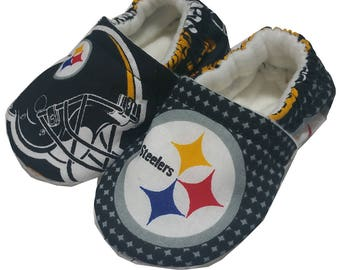 New NFL Pittsburgh Steelers Baby Girls Boys Handmade Booties Slippers Crib Shoes 2-12c 0-24M 3T-5T