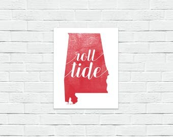 Roll Tide Alabama Crimson & White Wrapped Canvas Print, Wall Decor
