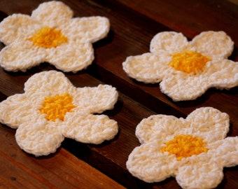 Flower Coasters Crochet- set of four, handmade crochet  coasters, drink coasters, Sunflower coasters, coffee mugs, mug mat set, tea coasters