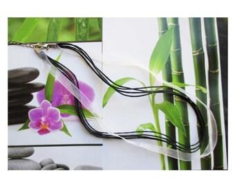 Round neck organza white and 4 black cotton cord, black and white organza Choker