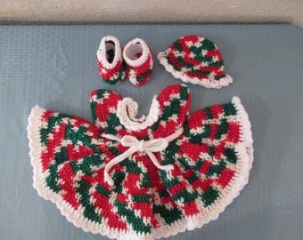 A Christmas Baby Dress, Hat, Booties