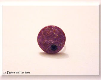 Fuchsia frosted polymer clay ring
