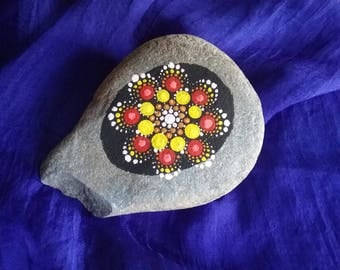 Red and Yellow Water Lily Rock Mandala