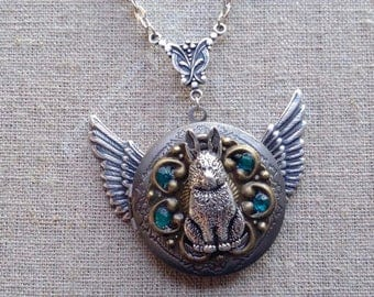 Steampunk flying rabbit pendant necklace