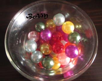 Set of 100 beads 10mm hole 2mm acrylic