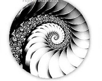 18mm, black and white swirl
