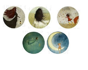 "lot 5, 25mm cabochons ""dreamers"""
