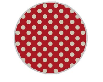 25mm cabochon ecru dots on red background