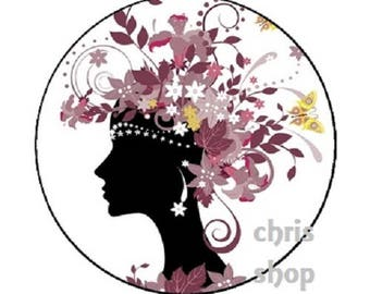 leaves hair woman cabochon 23mm