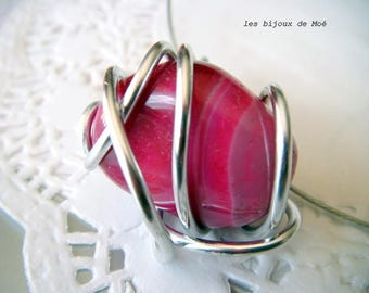 agate fuchsia and silver colored wire Choker