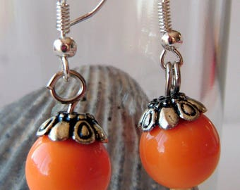 orange earrings, plastic cups nickle free