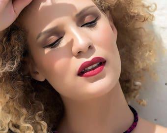 Queen Pinky, wax (Ankara) jewelry Choker necklace