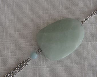 Steel necklace stainless steel pendant green stone