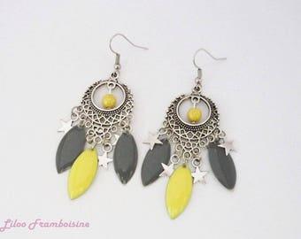 Duo grey and yellow chandelier earrings