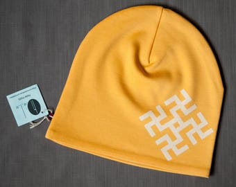 Women beanie hat Yellow slouchy jersey beanie Hat for ladies Adult scull cap Hat with cotton lining Slouchy beanie hat for her Womens beanie