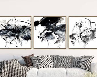 Black And WhiteTriptych, Abstract Art Prints, Set of 3 Prints, Abstract Wall Art,  Minimalist  Prints, Giclee Print, Home Decor, Wall Decor