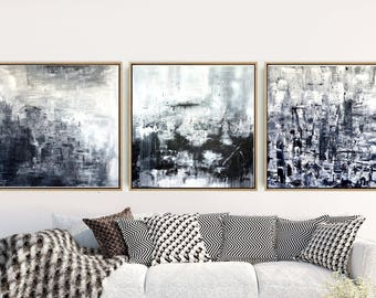 Black And White Triptych, Set Of 3 Prints, Abstract Art Prints, Abstract Wall Art, Minimalist  Prints, Wall Decor, Instant Download
