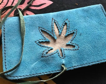 Turquoise Handmade Suede Tobacco Pouch