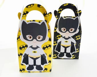 6x Batman Superhero Candy Lolly Loot Party Lunch Box Bag. Party Supplies Banner Bunting Flag Deco Favour
