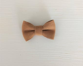 Hair bow Camel suede leather