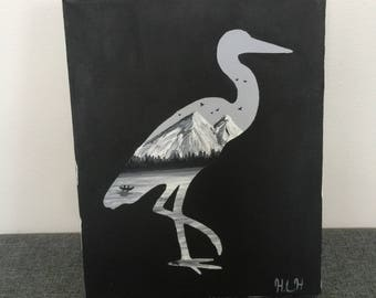 Crane silhouette painting