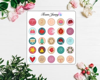 Christmas Countdown Stickers for Erin Condren, Happy Planner, Filofax, Scrapbooking etc