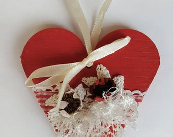 Bloodshot ballet. Wooden heart. Red heart decor. Faux flowers. Festive heart. Heart shapes. Colourful heart. Cottage chic heart. Love gift.
