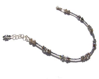 Hematite Grey Crystal Beaded Ankle Bracelet 8.5