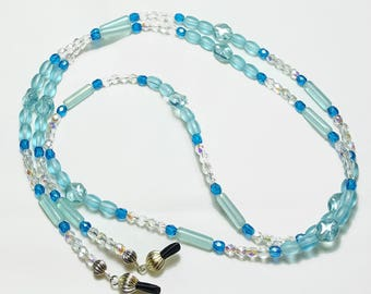 Sky Blue Frosted Beaded Eyeglass Chain