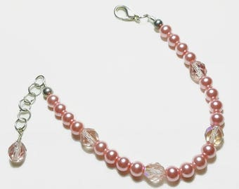 Rose Pink Pearl Crystal Wedding Bridal Bracelet
