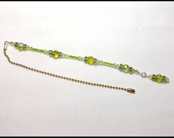 Sparkling Peridot Green Crystal Beaded Fan Pull Brass Chain