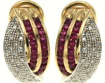 American Vintage earrings in yellow and white gold 14 kt. Rubies and diamonds, Age 80 Years, Craft antique earrings with diamonds