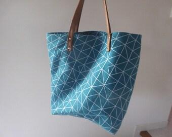 Handmade Brown genuine leather handles riveted duck blue green geometric tote bag