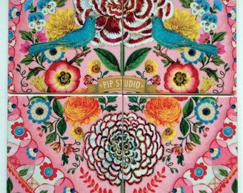 Handmade Set Of 4 Ceramic Coasters Pip Studio Pink Bohemian Drinks Mats Mugs Home Decor Housewarming Gift Christmas Present Shabby Chic