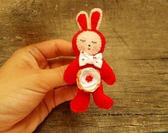 Adorable Felt Bunny Brooch, Red Felt Rabbit Pin, Children Bunny Brooch