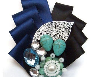 PIN satin Navy blue turquoise black perforated metal leaf beads and white