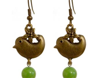 Women dangling golden bronze bird and Pearl lime green stone earrings