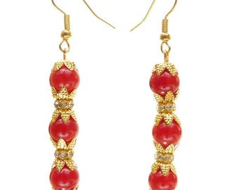 Golden rings circus bright red stone beads and white crystal earrings